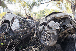 January 11, 2018 - Montecito, California, U.S - A car that was destroyed in a deadly mudslide that hit the area after heavy rainfall early Tuesday. (Credit Image: © Erick Madrid via ZUMA Wire)