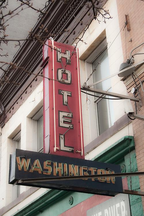 Vintage neon sign Hotel Washington, East Hastings Street Vancouver BC