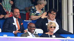 England manager Gareth Southgate (left) and Michael McIntyre (right) in the stands during the ICC Cricket World Cup group stage match at Lord's, London.