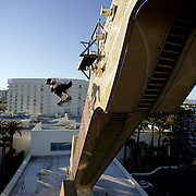 LAS VEGAS, NV, April 6 2006: Skateboarding pro Danny Way sets a new Guinness World Record by jumping off the Fender Guitar at the Hard Rock Hotel in Las Vegas, Nevada on April 6, 2006. The record was for Freefall World Record on skateboard. He fell 28 feet and landed on a ramp. The geight of the drop from the guitar from the ground was 78 feet. Danny completed the trick twice. (Photo by Todd Bigelow/Aurora)