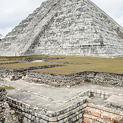 Excavation in front of the Temple of Kukulkan (El Castillo) at Chichen Itza Archeological Zone, ruins of a major Maya civilization city in the heart of Mexico's Yucatan Peninsula.