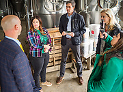 20 MAY 2019 - DAVENPORT, IOWA: BETO O'ROURKE talks to people at Great River Brewery about the flood that swept through Davenport. O'Rourke, running to be the 2020 Democratic nominee for the US Presidency, has made climate change a central part of his campaign. He toured flood damage in Davenport Monday. The Mississippi River flooded through downtown Davenport on April 30 and much of downtown is still recovering from the flood.    PHOTO BY JACK KURTZ