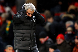 Manchester United manager Jose Mourinho reacts on the touchline during the Emirates FA Cup, quarter final match at Old Trafford, Manchester.