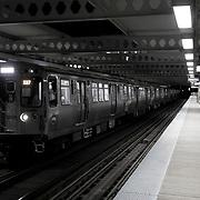 Chicago El Blue Line Trains at Night / Western Avenue Blue Line Station