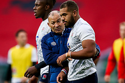 England head coach Eddie Jones speaks to Ollie Lawrence of England - Mandatory by-line: Robbie Stephenson/JMP - 14/11/2020 - RUGBY - Twickenham Stadium - London, England - England v Georgia - Autumn Nations Cup