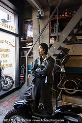 Hideya Togashi at his Hide Motorcycle's shop. Tokyo, Japan. Tuesday, December 9, 2014. Photograph ©2014 Michael Lichter.