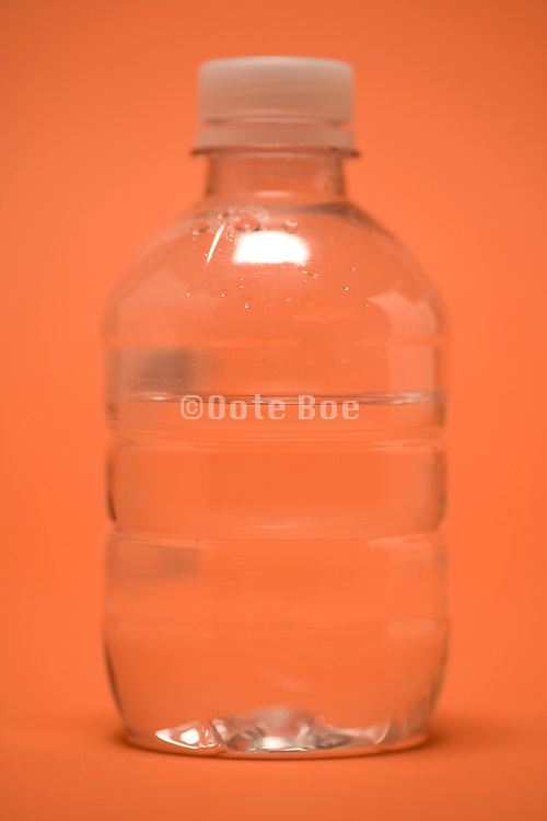 a small plastic bottle containing water selective focused