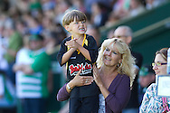 A young supporter of Yeovil Town shows his support during the Skybet championship match, Yeovil Town v Reading at Huish Park in Yeovil on Saturday 31st August 2013. <br /> Picture by Sophie Elbourn, Andrew Orchard sports photography,