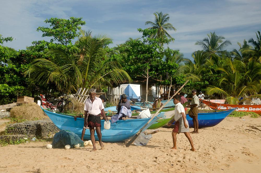 Group of fishermen on Tangalle beach, Sri Lanka