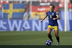 June 29, 2019 - Rennes, France - Magdalena Eriksson (Chelsea FCW) of Sweden controls the ball during the 2019 FIFA Women's World Cup France Quarter Final match between Germany and Sweden at Roazhon Park on June 29, 2019 in Rennes, France. (Credit Image: © Jose Breton/NurPhoto via ZUMA Press)