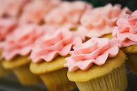 Cupcakes with pink frosting.