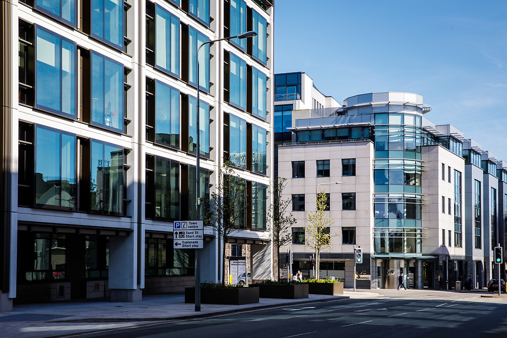 Offshore banking and finance buildings in the business district of St Helier, Jersey, Channel Islands