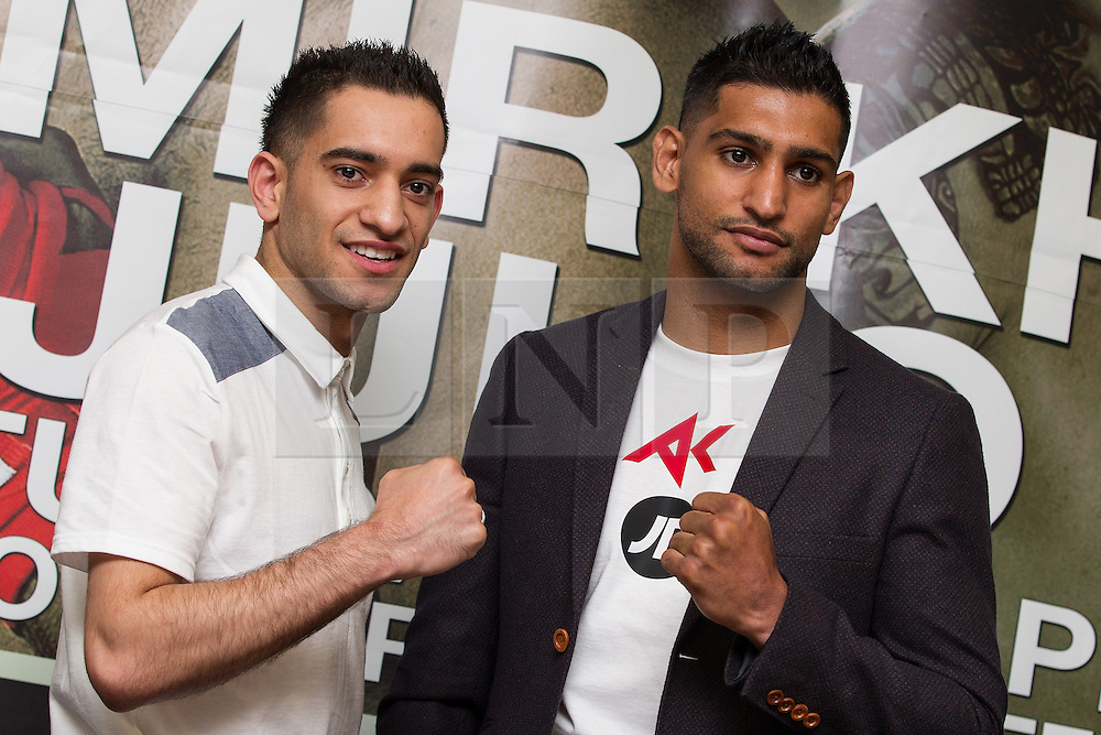 © Licensed to London News Pictures . 25/04/2013 . Sheffield , UK . HAROON KHAN and AMIR KHAN . Final press conference in advance of Amir Khan vs Julio Diaz boxing bout , today (Thursday 25th April 2013) at the Mercure Hotel in Sheffield City Centre ahead of the fight on April 27th at the Motorpoint Arena in Sheffield . Photo credit : Joel Goodman/LNP