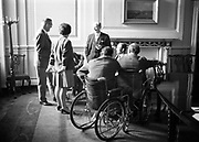 15th November 1968<br /> <br /> Jack Lynch meeting members of the Irish Wheelchair Association at Government Buildings.