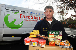 A volunteer driver with Fareshare. Fareshare supplies surplus 'fit for purpose' food to organisations working with disadvantaged people in the community, Leeds UK