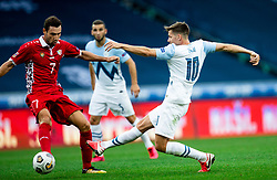 Artur Ionita of Moldova vs Miha Zajc of Slovenia during the UEFA Nations League C Group 3 match between Slovenia and Moldova at Stadion Stozice, on September 6th, 2020. Photo by Vid Ponikvar / Sportida
