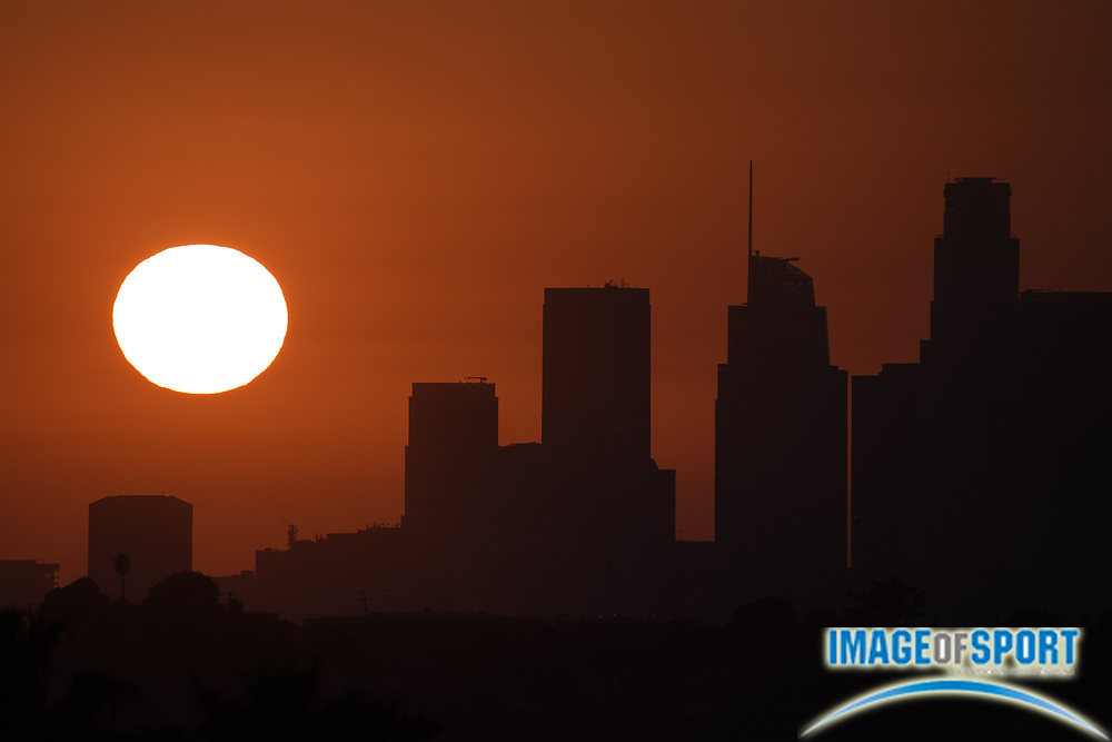 Sunset over downtown Los Angeles skyline in skies darkened by California wildfires, Friday, Sept. 25, 2020.