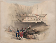 Entrance to the Tombs of the Kings, Jerusalem, 1839. Color lithograph by David Roberts (1796-1864). An engraving reprint by Louis Haghe was published in a the book 'The Holy Land, Syria, Idumea, Arabia, Egypt and Nubia. in 1855 by D. Appleton & Co., 346 & 348 Broadway in New York.