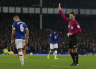Phil Jagielka of Everton is sent off by referee Mark Clattenburg during the English Premier League match at Goodison Park Stadium, Liverpool. Picture date: December 13th, 2016. Pic Simon Bellis/Sportimage