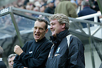Photo: Andrew Unwin.<br />Newcastle Utd v Birmingham City. The Barclays Premiership. 05/11/2005.<br />Birmingham's under-pressure manager, Steve Bruce, with the fourth official, Mr M Messias (L).