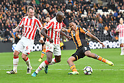 Hull City striker Abel Hernandez (9) under attack from Stoke City defender Bruno Martins Indi (15) during the Premier League match between Hull City and Stoke City at the KCOM Stadium, Kingston upon Hull, England on 22 October 2016. Photo by Ian Lyall.