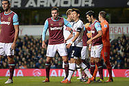 Carl Jenkinson of West Ham United © marks Son Heung-Min of Tottenham Hotspur at a corner. Barclays Premier league match, Tottenham Hotspur v West Ham Utd at White Hart Lane in London on Sunday 22nd November 2015.<br /> pic by John Patrick Fletcher, Andrew Orchard sports photography.