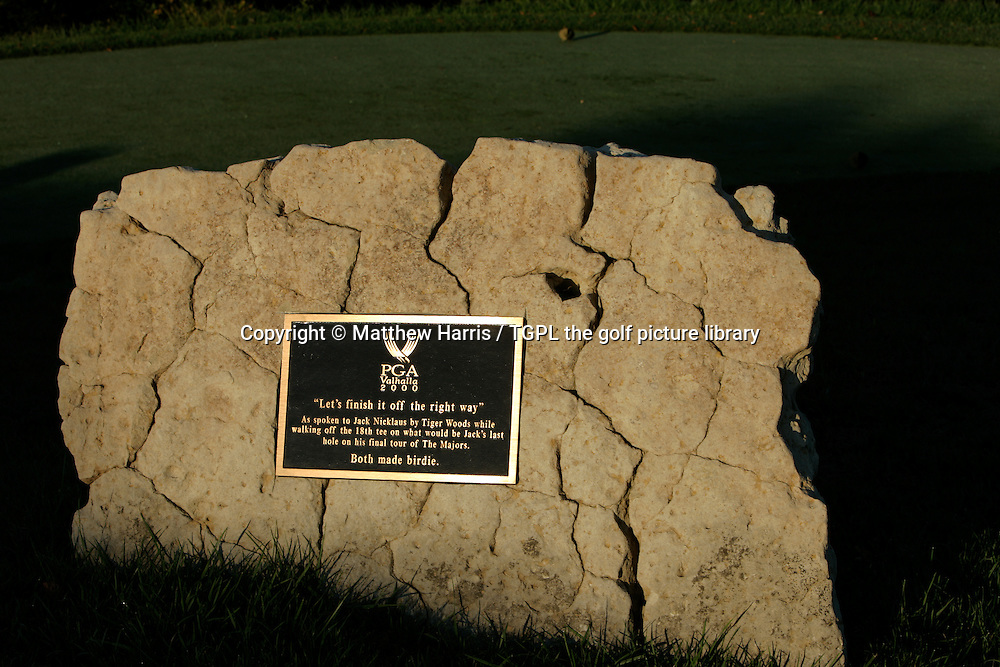 Valhalla during autumn 2007. Venue for the 2008 Ryder Cup Matches between USA and Europe to be staged in September.<br /> Shown here plaque on the 18th tee as spoken by Tiger Woods to Jack Nicklaus during the second round of the US PGA Championships 2000; Nicklaus's final appearance.