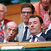LONDON, ENGLAND - JULY 15: Prince Edward, Duke of Kent, watching the Men's Doubles Final on Center Court during the Wimbledon Lawn Tennis Championships at the All England Lawn Tennis and Croquet Club at Wimbledon on July 15, 2017 in London, England. (Photo by Tim Clayton/Corbis via Getty Images)