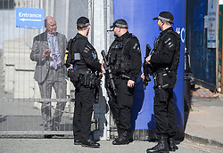 © Licensed to London News Pictures. 29/09/2018. Birmingham, UK. Armed police guard the perimeter  surrounding the conference venue as security is increased ahead of the 2018 Conservative Party autumn conference, which is being held at the ICC in Birmingham. This years event will focus heavily on negotiations with the Eu over the UK's exit form the EU. Photo credit: Ben Cawthra/LNP