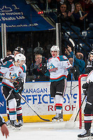 KELOWNA, CANADA - FEBRUARY 10: Nolan Foote #29 of the Kelowna Rockets scores his third goal and earns his first WHL hat trick against the Vancouver Giants on February 10, 2017 at Prospera Place in Kelowna, British Columbia, Canada.  (Photo by Marissa Baecker/Shoot the Breeze)  *** Local Caption ***