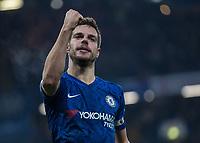 Football - 2019 / 2020 Premier League - Chelsea vs. Arsenal<br /> <br /> Cesar Azpilicueta (Chelsea FC) celebrates after scoring at Stamford Bridge <br /> <br /> COLORSPORT/DANIEL BEARHAM