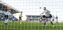 Hearts Adam Eckersley heads off the line.<br /> Falkirk 0 v 3 Hearts, Scottish Championship game played 21/3/2015 at The Falkirk Stadium.