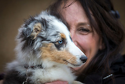 © Licensed to London News Pictures. 08/03/2018. Birmingham UK. Tina Lowes with her Sheltie dog arriving at the NEC in Birmingham this morning for the Crufts 2018 dog show. Photo credit: Andrew McCaren/LNP