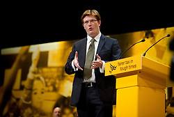 © London News Pictures. 25/09/2012. Brighton, UK.  Chief Secretary to the Treasury, Danny Alexander delivering his speech on day 4 of the Liberal Democrat Conference in Brighton on September 25, 2012. Photo credit : Ben Cawthra/LNP.