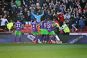 Bristol City players celebrate the second equaliser 2-2 during the EFL Sky Bet Championship match between Sheffield United and Bristol City at Bramall Lane, Sheffield, England on 30 March 2019.