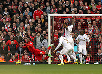 Barclays Premier League, Liverpool V Swansea, Anfield, 17/02/13 .Pictured: Sturridge goes down in the Swansea Box..