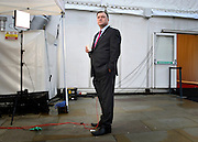 © Licensed to London News Pictures. 01/10/2012. Manchester, UK Shadow Chancellor Ed Balls speaks to the media on the morning of his conference speech. Labour Party Conference Day 2 at Manchester Central. Photo credit : Stephen Simpson/LNP