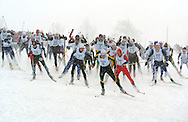 12 MAR 2005: Lowell Bailey (6) of the University of Vermont leads the men's pack down the starting sprint during the freestyle cross country event of the 2005 NCAA Men and Women's Skiing Championships held at Trapp Family Lodge  in Stowe, VT. Bailey placed 7th in the event. ©Brett Wilhelm/NCAA Photos