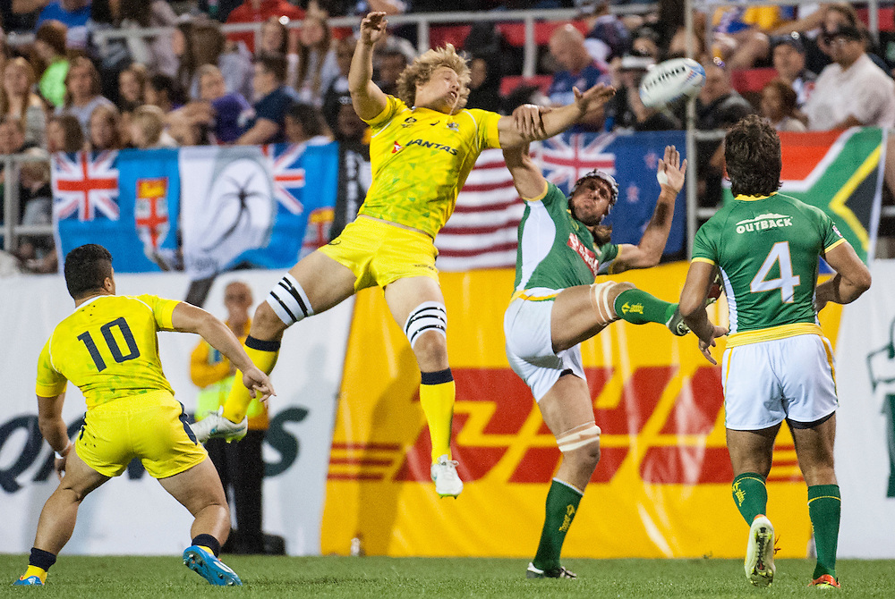 South Africa beats Portugal in pool play for the USA Sevens leg of the 2015 HSBC Sevens World Series  at Sam Boyd Stadium in Las Vegas, Nevada. Friday February 13, 2015.<br /> <br /> COPYRIGHT © JACK MEGAW, 2015. <br /> <br /> www.jackmegaw.com