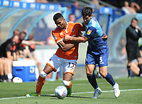 Blackpool's Michael Nottingham under pressure from Wycombe Wanderers' Joe Jacobson<br /> <br /> Photographer Kevin Barnes/CameraSport<br /> <br /> The EFL Sky Bet League One - Wycombe Wanderers v Blackpool - Saturday 4th August 2018 - Adams Park - Wycombe<br /> <br /> World Copyright © 2018 CameraSport. All rights reserved. 43 Linden Ave. Countesthorpe. Leicester. England. LE8 5PG - Tel: +44 (0) 116 277 4147 - admin@camerasport.com - www.camerasport.com