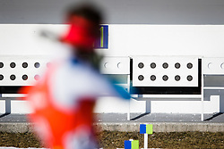Klemen Bauer (SLO) and targets during Men 12,5 km Pursuit at day 3 of IBU Biathlon World Cup 2015/16 Pokljuka, on December 19, 2015 in Rudno polje, Pokljuka, Slovenia. Photo by Ziga Zupan / Sportida