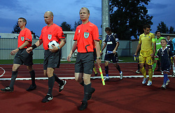 Referees Esa Vehvialainen, Tony Asumaa and Teijo Kotinurmi of Finland before the 1st football game of 2nd Qualifying Round for UEFA Champions league between NK Domzale vs HNK Dinamo Zagreb, on July 30, 2008, in Domzale, Slovenia. Dinamo won 3:0. (Photo by Vid Ponikvar / Sportal Images)