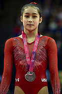 Victoria Nguyen of the United States of America (USA) wins the women's Silver Medal during the iPro Sport World Cup of Gymnastics 2017 at the O2 Arena, London, United Kingdom on 8 April 2017. Photo by Martin Cole.
