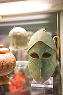 Bronze helmet in the British Museum. Greek, around 460 BC, Probably from Corinth, south-central Greece