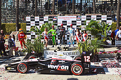 LONG BEACH, CA - APR 15: IndyCar Series driver Will Power at victory circle after winning the 2012 Toyota Grand Prix of Long Beach. All fees must be ageed prior to publication,.Byline and/or web usage link must  read SILVEX.PHOTOSHELTER.COM Photo by Eduardo E. Silva