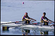 Sydney, AUSTRALIA,  left. Silver Medalist GER LW2X, Bow, Claudia BLASBERG , Valerie VIEHOFF.  Centre, Gold Medalist ROM LW2X, Bow, Angela ALUPEI - TAMAS , Constanta BURCICA. right Bronze Medalist, Bow, Christine SMITH - COLLINS and Sarah GARNER.  2000 Olympic Regatta, West Lakes Penrith. NSW.  [Mandatory Credit. Peter Spurrier/Intersport Images] Sydney International Regatta Centre (SIRC) 2000 Olympic Rowing Regatta00085138.tif