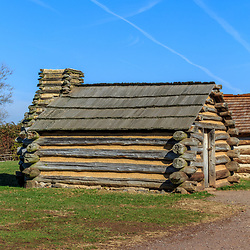 Valley Forge, PA / USA - November 26, 2015:  Reproductions of rustic cabins used by Revolutionary War soldiers under the command of George Washington during the winter of 1777-78. Located in Valley Forge National Historic Park, Pennsylvania, USA.