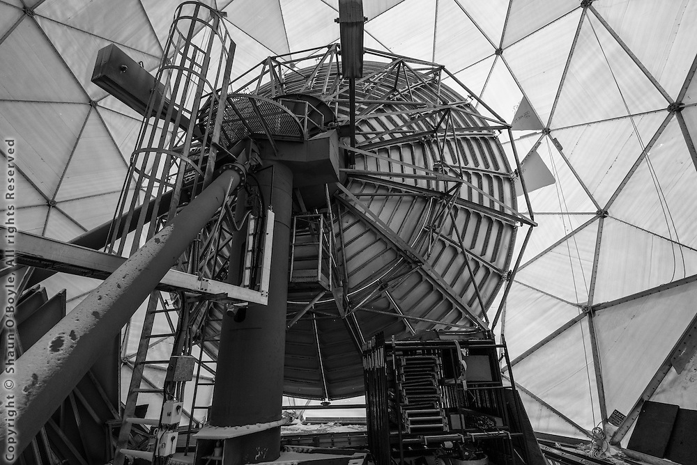Inside the satellite dome