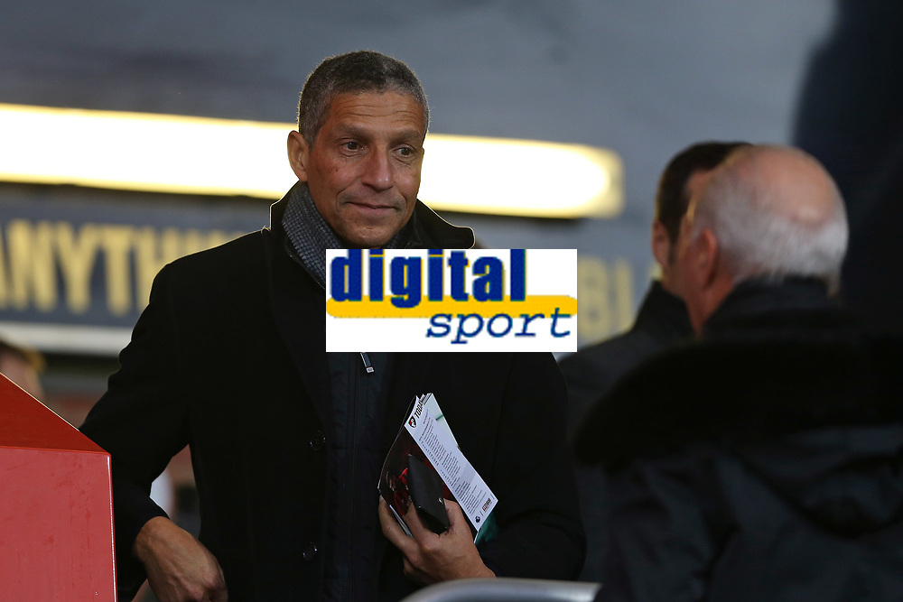 Football - 2019 / 2020 Premier League - AFC Bournemouth vs. Wolverhampton Wanderers<br /> <br /> Former Brighton manager Chris Hughton greets Bournemouth's Chairman Jeff Mostyn before taking his seat before kick off at the Vitality Stadium (Dean Court) Bournemouth <br /> <br /> COLORSPORT/SHAUN BOGGUST