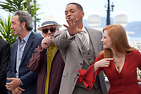 Paolo Sorrentino, Director and President of the Jury Pedro Almodóvar, Will Smith and actress Jessica Chastain  at the Members of the Jury photocall at the 70th Cannes Film Festival Wednesday May 17th 2017, Cannes, France. Photo credit: Doreen Kennedy
